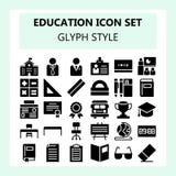 Icono de la escuela y de la educación fijado en glyph o estilo sólido ilustración del vector