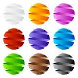 icono de la esfera 3D y diseño de la insignia Imagen de archivo