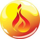 Icono de la esfera del fuego Fotografía de archivo libre de regalías