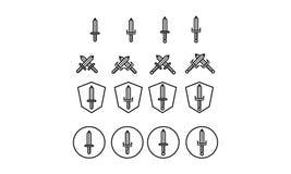 Icono de la espada Imagenes de archivo