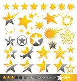 Icono de la estrella y colección de la insignia Fotografía de archivo libre de regalías