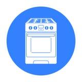 Icono de la estufa de cocina en estilo negro aislado en el fondo blanco Ejemplo del vector de la acción del símbolo del aparato e Foto de archivo libre de regalías