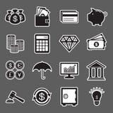 Icono de la etiqueta engomada de las finanzas Imagen de archivo libre de regalías