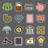 Icono de la etiqueta engomada de las finanzas Imágenes de archivo libres de regalías