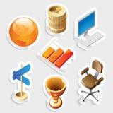 Icono de la etiqueta engomada fijado para el asunto y el dinero Fotos de archivo libres de regalías