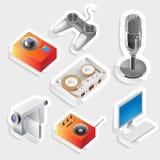 Icono de la etiqueta engomada fijado para los dispositivos de la hospitalidad Imagenes de archivo