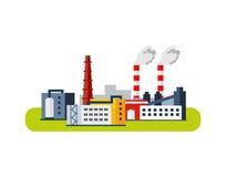 Icono de la fábrica, concepto de la contaminación Ejemplo plano del vector Fotos de archivo