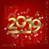Icono 2019 de la Feliz Año Nuevo ilustración del vector