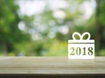 Icono 2018 de la Feliz Año Nuevo de la caja de regalo Imagen de archivo