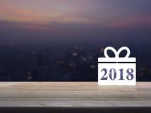 Icono 2018 de la Feliz Año Nuevo de la caja de regalo Fotografía de archivo libre de regalías