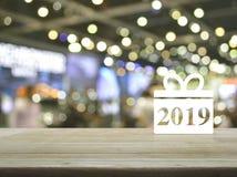 Icono 2019 de la Feliz Año Nuevo de la caja de regalo foto de archivo libre de regalías