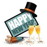Icono de la Feliz Año Nuevo con los ventiladores y el sombrero de copa del partido libre illustration