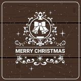 Icono de la Feliz Navidad en el día de fiesta creativo Logo Design Concept de la textura de madera Fotos de archivo