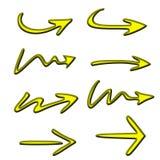 Icono de la flecha del oro Imagen de archivo