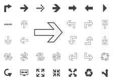 Icono de la flecha derecha Iconos del ejemplo de la flecha fijados Fotos de archivo