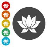 Icono de la flor de Lotus, logotipo Aislado en el fondo blanco Ilustración del vector stock de ilustración