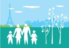 Icono de la forma de vida con la familia y la torre Eiffel de París Fotografía de archivo libre de regalías