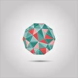 Icono de la forma del polígono de la esfera Imagen de archivo