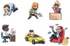 Icono de la gente de la historieta de la diversa gente de la carrera y de la situación Imágenes de archivo libres de regalías