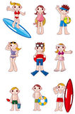 Icono de la gente del verano de la historieta Imagenes de archivo