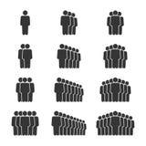 Icono de la gente fijado adentro con la sombra Muestras de la muchedumbre Símbolo para su diseño del sitio web del infographics,  Fotos de archivo libres de regalías