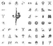 icono de la gimnasia Iconos determinados del vector del ejemplo del deporte Sistema de 48 iconos del deporte Foto de archivo