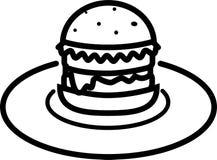 Icono de la hamburguesa con la ensalada con queso y la chuleta en una placa stock de ilustración