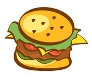 Icono de la hamburguesa Hamburguesa, muestra de los alimentos de preparación rápida Diseño de moda del estilo de la historieta Il Imagenes de archivo