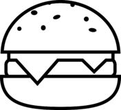 Icono de la hamburguesa y de la chuleta dobles del queso libre illustration