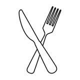 Icono de la herramienta de los cubiertos de la bifurcación y del cuchillo Imágenes de archivo libres de regalías