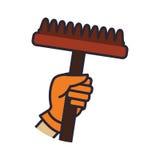 Icono de la herramienta que cultiva un huerto del jardín de la mano del rastrillo Gráfico de vector stock de ilustración