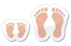 Icono de la huella - bebé, niño y adulto Fotografía de archivo