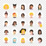 Icono de la imagen del perfil del avatar del usuario fijado en círculo incluyendo hembra Caracteres de la gente en fondo transpar ilustración del vector