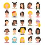 Icono de la imagen del perfil del avatar del usuario fijado incluyendo hembra Ejemplo del vector en plano stock de ilustración