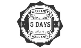 icono de la insignia del sello del diseño del ejemplo de la garantía de 5 días ilustración del vector