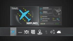 Icono de la línea aérea para el contenido del viaje Uso del indicador digital stock de ilustración