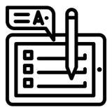 Icono de la lista de control de la tableta, estilo del esquema ilustración del vector