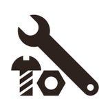 Icono de la llave, de la nuez y del perno Imagen de archivo