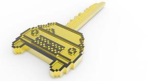 icono de la llave del coche del pixel del oro 3d Fotos de archivo libres de regalías