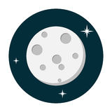 Icono de la luna plano Imagenes de archivo