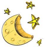 Icono de la luna y del tiempo de las estrellas Imágenes de archivo libres de regalías