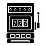 Icono de la máquina tragaperras del casino, ejemplo del vector, muestra negra en fondo aislado Fotos de archivo