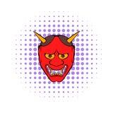 Icono de la máscara de Hannya, estilo de los tebeos Foto de archivo