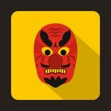 Icono de la máscara de Hannya, estilo plano Fotografía de archivo