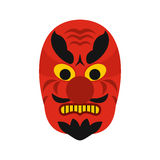 Icono de la máscara de Hannya, estilo plano Foto de archivo