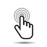 Icono de la mano del tecleo Vector plano de la muestra del finger del cursor foto de archivo