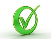 Icono de la marca de verificación con el esquema de oro Fotografía de archivo libre de regalías