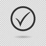Icono de la marca de verificación Botón de la marca de cotejo del vector con el círculo Símbolo de la señal stock de ilustración