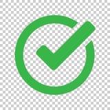 Icono de la marca de verificación en estilo plano Apruebe, acepte el ejemplo del vector encendido stock de ilustración