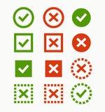 Icono de la marca de verificación Marcas verdes y rojas y cruces Imagen de archivo libre de regalías